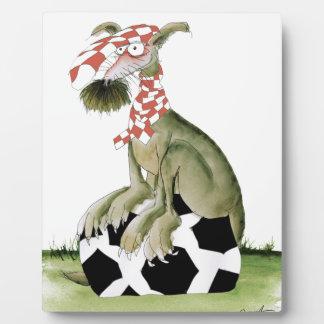 de hond gelukkige verdediger van het roodvoetbal fotoplaat
