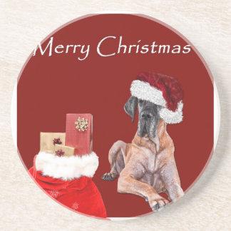 De Hond Great dane van Kerstmis Zandsteen Onderzetter