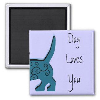 De hond houdt van u magneet