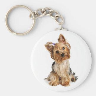 De Hond Keychain van het Puppy Yorkshire Terrier - Basic Ronde Button Sleutelhanger