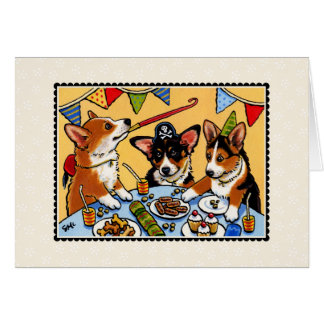 De Hond Notecard van de Partij van Corgi Kaart