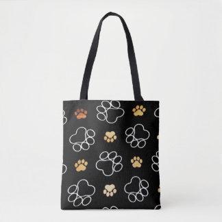 De hond Pawprint volgt Zwart Canvas tas