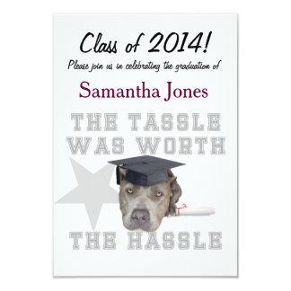 De hond van afstuderen pitbull 8,9x12,7 uitnodiging kaart