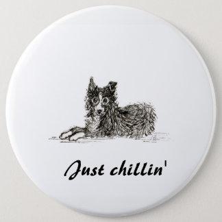 De hond van border collie, enkel chillin ronde button 6,0 cm