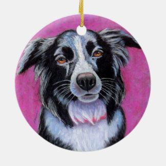De Hond van de maan, Border collie Rond Keramisch Ornament