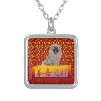 De Hond van de pekinees op Gelukkig Chinees Zilver Vergulden Ketting