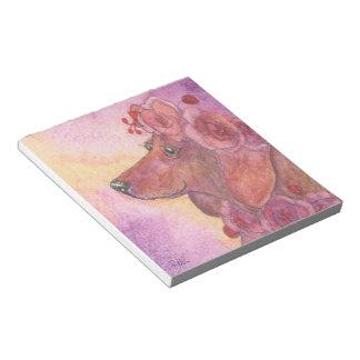 De hond van de tekkel & rozen, worsthond, weiner notitieblok