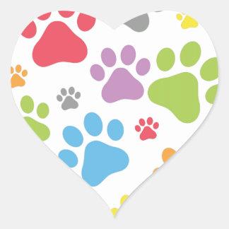 De Hond van de voetafdruk Hart Sticker
