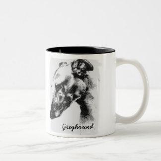 De Hond van de windhond in Profiel Tweekleurige Koffiemok