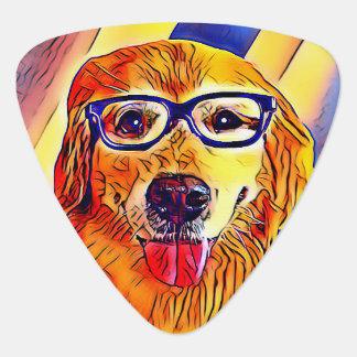 De Hond van het golden retriever met Grafische Gitaar Plectrums 0