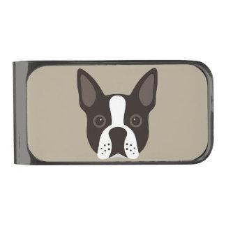 De Hond van het Puppy van Boston Terrier houdt van Verbronsde Geldclip