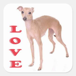 De Hond van het Puppy van de Windhond van de Vierkante Stickers