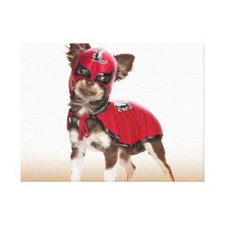 De hond van Lucha libre, grappige chihuahua, Canvas Afdruk