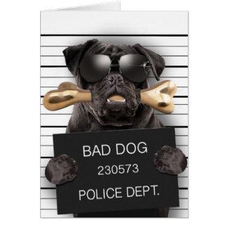 De hond van Mugshot, grappige pug, pug Notitiekaart