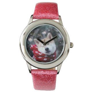 De hond van Shiba - dogehond - vrolijke Kerstmis Horloge