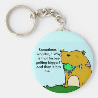 De hond zeer belangrijke ketting van Frisbee Basic Ronde Button Sleutelhanger