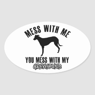 De honddesign van de windhond ovaalvormige stickers