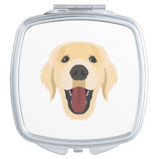 De honden van de illustratie zien Gouden Retriver Make-up Spiegels