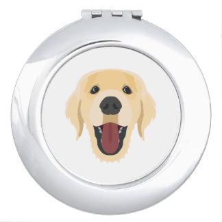 De honden van de illustratie zien Gouden Retriver Make-up Spiegeltje