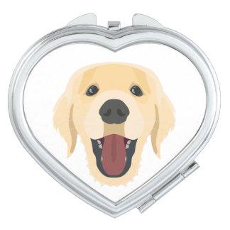 De honden van de illustratie zien Gouden Retriver Reisspiegeltje