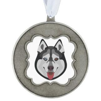 De honden van de illustratie zien Siberische Schor Geschulpt Pewter Ornament