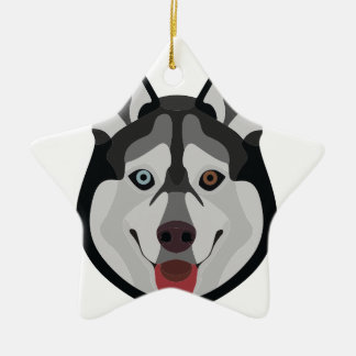 De honden van de illustratie zien Siberische Schor Keramisch Ster Ornament