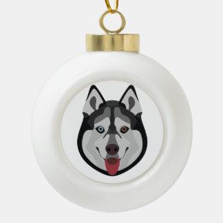 De honden van de illustratie zien Siberische Schor Keramische Bal Ornament