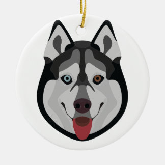 De honden van de illustratie zien Siberische Schor Rond Keramisch Ornament