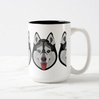 De honden van de illustratie zien Siberische Schor Tweekleurige Koffiemok