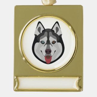 De honden van de illustratie zien Siberische Schor Verguld Banner Ornament