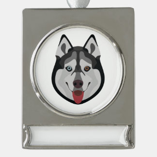 De honden van de illustratie zien Siberische Schor Verzilverd Banner Ornament