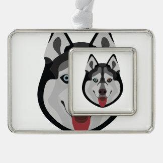 De honden van de illustratie zien Siberische Schor Verzilverd Omlijst Ornament
