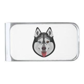 De honden van de illustratie zien Siberische Schor Verzilverde Geldclip