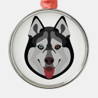 De honden van de illustratie zien Siberische Schor Zilverkleurig Rond Ornament