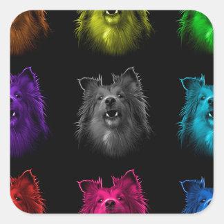 De hondkunst 0207 BB van Sheltie Vierkante Sticker