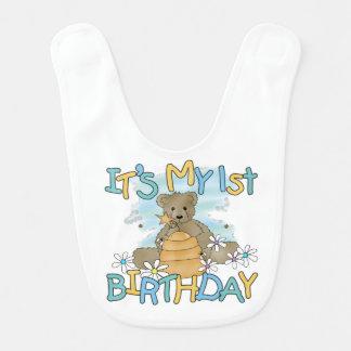 De honing draagt de 1st Slab van de Verjaardag Baby Slabbetje