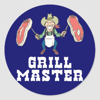 De HoofdCowboy van de grill Ronde Sticker