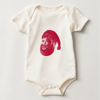De HoofdHoutdruk van de Kerstman Baby Shirt