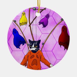 De HoofdKat van de marionet Rond Keramisch Ornament