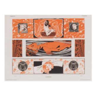 De Hoofdstroken van Moser- van Koloman Briefkaart