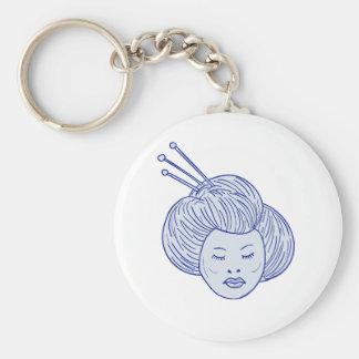 De HoofdTekening van het Meisje van de geisha Sleutelhanger