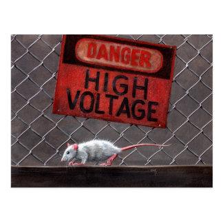 De hoogspanningsteken van de rat op briefkaart