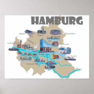 De hoogtepuntenkaart van Hamburg Poster