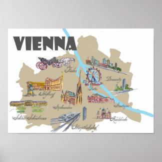 De hoogtepuntenkaart van Wenen Oostenrijk Poster