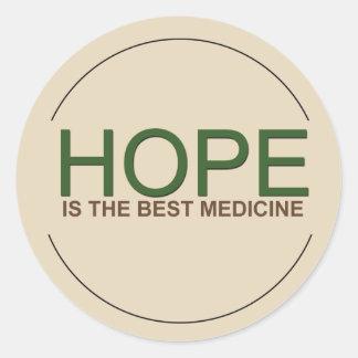 De hoop is de beste geneeskunde ronde sticker