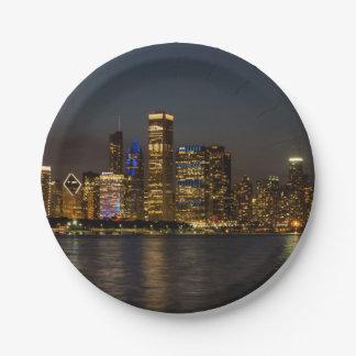 De Horizon Chicago Pano van de nacht Papieren Bordje