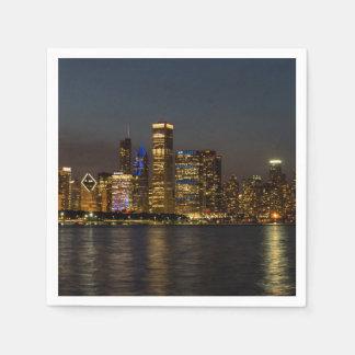 De Horizon Chicago Pano van de nacht Papieren Servetten