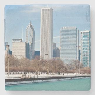 De horizon van Chicago over bevroren Meer Michigan Stenen Onderzetter