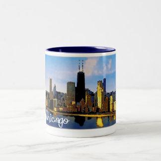 De Horizon van Chicago Tweekleurige Koffiemok