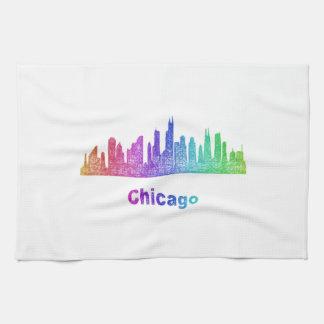 De horizon van Chicago van de regenboog Theedoeken